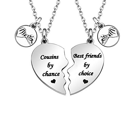 JQFEN Cousins Gift for Women Men Cousins Necklace -Cousins by Chance,Best Friends by Choice- Promise Friends Necklace of 2 Broken Heart Necklace