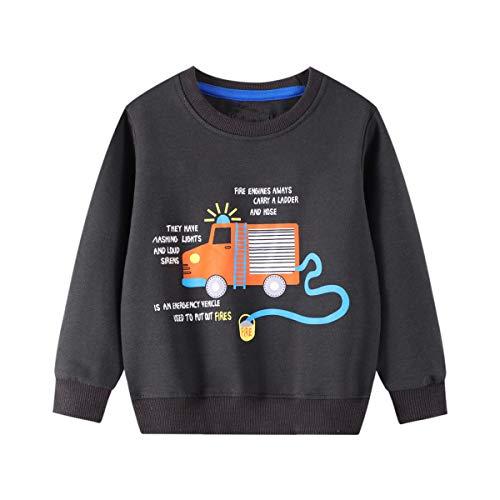 Surwin Sudadera Cuello Redondo para niños Unisex Jersey Manga Larga Algodón Suave Casual Camiseta Superior Ropa Invierno Chándal (Camión de Bomberos,4T/110cm)