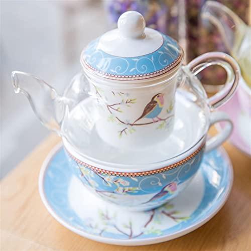 Theekopjes Vogel en bloem thee voor één set Rose Blue theepot schotel en theekopje fijne bone china thee met…