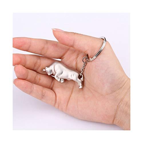 Goplnma Entre el Llavero de los EE.UU. Llavero De Toro Sólido Llavero 3D Animal Llavero Llavero Llavero Alto Calidad Colgante Ornamentos (Color : Silver)