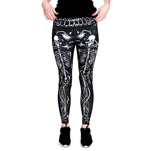 cosey - Bedruckte Bunte Halloween Leggins (Einheitsgröße) - Leggings Design Meerjungfrau Skelett
