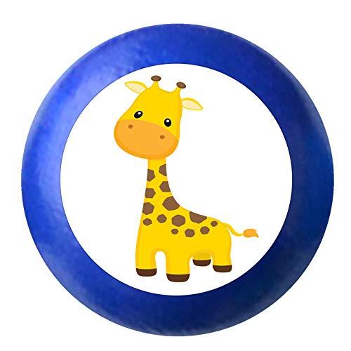 """Kommodenknauf\""""Giraffe\"""" ultramarinblau Holz Buche Kinder Kinderzimmer 1 Stück wilde Tiere Zootiere Dschungeltiere Traum Kind"""