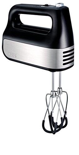 KRUPS Hand Mixer, Electric Hand Mixer with Turbo Boost Stainless Steel Accessories, Count Down Timer, 4 servings, Black