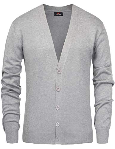 Men's Shawl Collar Long Sleeve Button Front Knited Sweater Cardigan Size M Grey