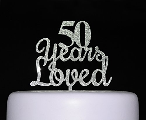90 Years Loved Cake Topper in Silver