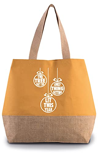Hippowarehouse The tree isn't the only thing getting lit this year Premium reusable eco friendly 100% cotton tote shopper bag for life 43cm x 33cm x 17cm