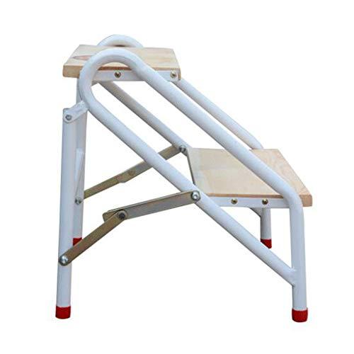 WANNA.ME Klappstufen Faltbare Trittleiter-Leiter, Massivholz-breites Pedal 2 Schritte Hocker für Kinder & Erwachsene, Gartenstühle aus Metall oder Haushalts-Treppenhocker
