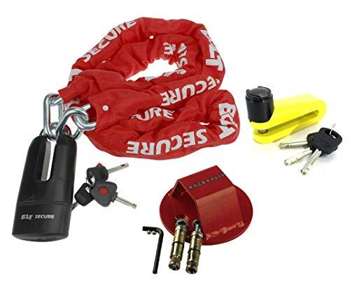 BOLT Candado de cadena de 1,8 m de largo para motocicleta, scooter, protección contra robo, seguridad con anclaje de tierra RS Atom + bloqueo de disco de 10 mm