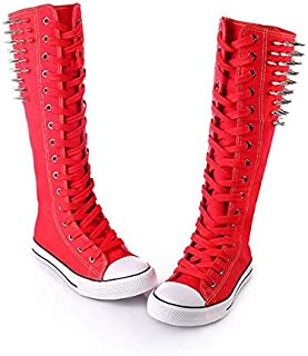 JIUZHOUTONG Black/White/Red Canvas Spike Rivet Lace Up Wedges Flat Skate Mid-Calf Sneaker Boots