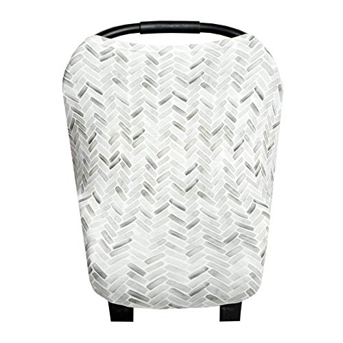 Baby Car Seat Cover Canopy and Nursing Cover Multi-Use Stretchy 5 in 1 Gift'Alta' by Copper Pearl