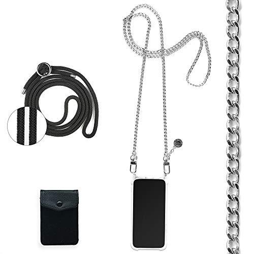 Jalouza - Cadena de teléfono móvil compatible con Huawei P30 Pro, tarjetero con protección RFID + cadena en plata con funda para colgar + cordón negro para cambiar