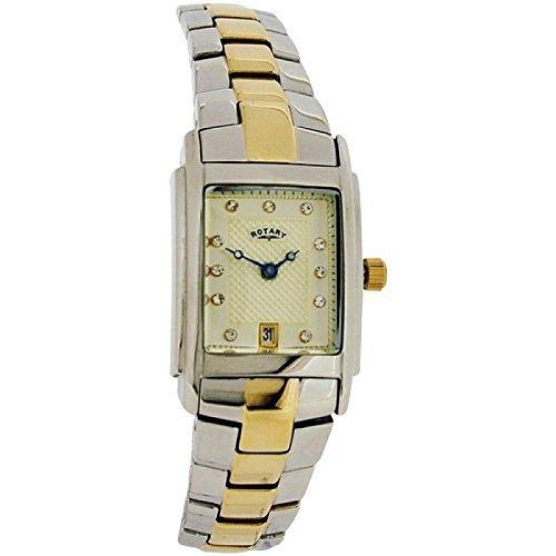 Rotary LB72830-40 Reloj De Pulsera De Metal Dial Cuadrado Tono Champaña con Fecha