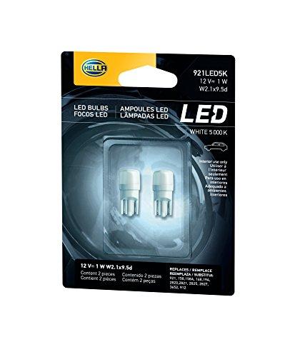 HELLA 921LED 5K 5,000 Kelvin Warm White LED-1W LED Performance Bulb Set, 12V, 1W, 2 Pack
