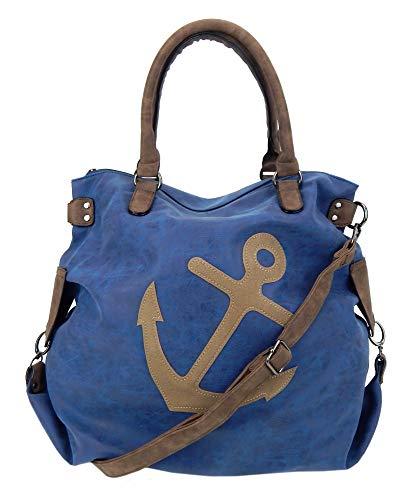 Ella Jonte Tasche blau braun XXL Shopper mit Anker Handtasche maritim Damen