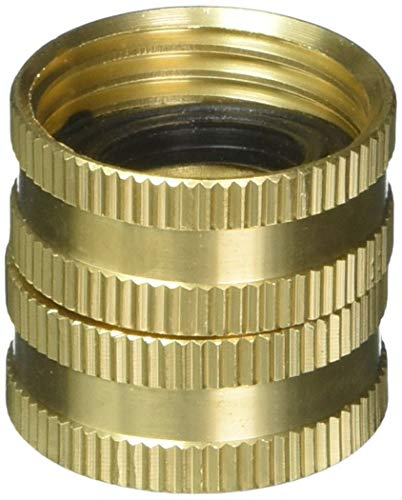 5 Pack - Gilmour 7FHS7FH Brass Water Hose Connector | Double Female Thread with Swivel | 3/4 Inch x 3/4 Inch Garden Hose Adapter