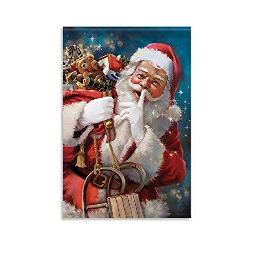 LTGB - Poster natalizio con Babbo Natale, motivo: Babbo Natale Shhh, 30 x 45 cm