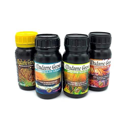 MADAME GROW / Fertilizantes Orgánicos/Obtén una Cosecha de ensueño/Kit Dream Harvest/para Marihuana o Cannabis/Kit 4X 250 ml /