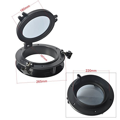 Amarine Made Boat Yacht Round Opening Portlight Porthole 10' Replacement Window Port Hole - ABS, Tempered Glass -Marine/Boat/rv Portlight Hatch, Color: White, Black (Black)