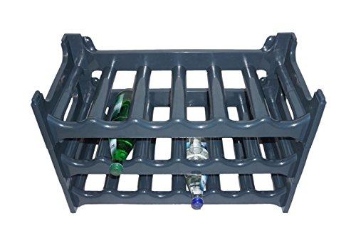 3x Homestyle Flaschenregal Weinregal Anthrazit aus stabilem Kunststoff für 18 Flaschen Weinregal 60x28x42cm
