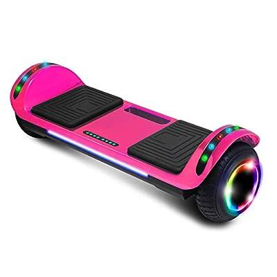 cho Electric Hoverboard Smart Self Balancing Scooter Hover Board Built-in Speaker LED Wheels Side Lights for Kids- Safety Certified (Chrome Pink)