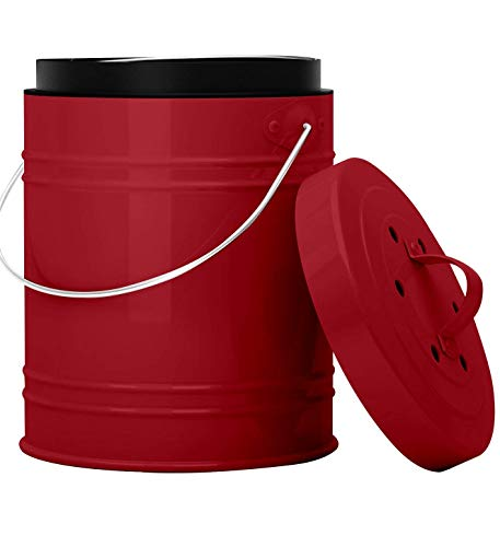 Oversized 1.3 Gallon Kitchen Compost Bin with EZ-No Lock Lid, Plastic Liner & Charcoal Filters in Red & Black - Sturdy Construction & Odor-Free Seal to Prevent Bugs & Smell w/Dishwasher Safe Bucket…