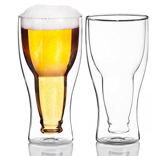 Dimono Doppelwandiges Bierglas Inside Out Umgestülpte Bierflasche im Glas (2 Gläser)