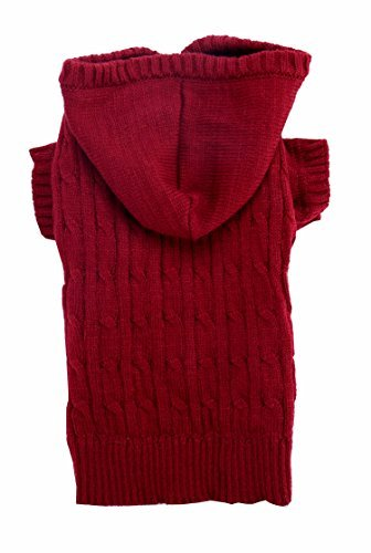 Burgundy Red Christmas Dog Classic Cable Pet Sweater Hoodie for Dogs, X-Large (XL) Size 19' Back Length