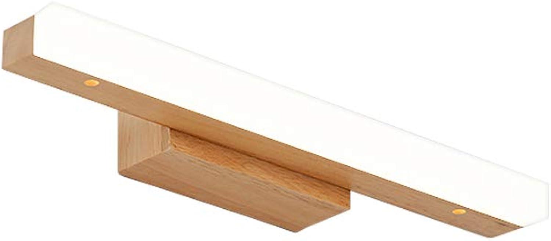 J.SUNUN Spiegellicht, Die LED-Spiegelleuchte für das Badezimmer ist aus Gummi, Holz und Acryl für 220V-Frontbeleuchtung (Farbe   Weies Licht, Gre   Small 40cm 6W)