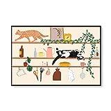 Dibujos Animados Lienzo Niños Ilustración Poster Impresiones Vivero Pared Arte Nórdico Estilo Lienzo Pintura Niños Hogar Animal Gato Pared Cuadros Decoracion 40x60cmx1 No Marco