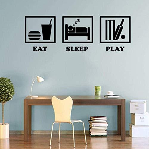 Muurstickers, motief eten, slaap, spel, cricket, muurstickers, kunst voor kinderkamer, woonkamer, decoratie van het huis, 30 x 90 cm