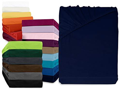 npluseins klassisches Jersey Spannbetttuch - erhältlich in 34 modernen Farben und 6 verschiedenen Größen - 100% Baumwolle, 90-100 x 200 cm, Navyblau