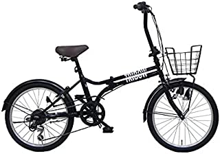 TRIBOW(トリボー)折り畳み自転車 シマノ製6段変速 ミニベロ 小径車 20インチ コンパクト収納 カゴ&鍵(リング錠)&ライト付き メーカー保証1年間 3色
