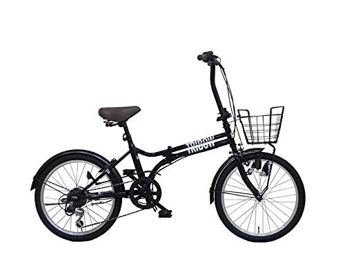 TRIBOW(トリボー)折り畳み自転車 シマノ製6段変速 ミニベロ 小径車 20インチ コンパクト収納 カゴ&鍵(リング錠)&ライト付き メーカー保証1年間 3色 (ブラック)