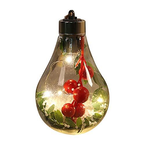 HIAHA Palline Di Natale Fatte A Mano Da 7 Cm Di Natale, Palla Di Natale Trasparente Palla Luminosa Di Natale, Palla Di Natale In Vetro Decorazione Della Palla Dell'albero Di Natale 4