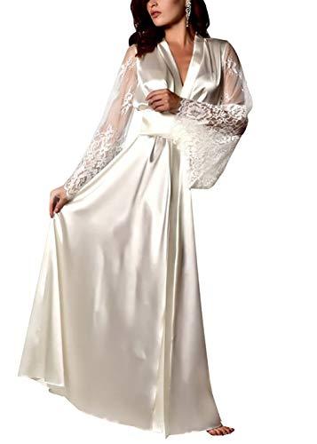 Carolilly Damen Satin Nachtkleid Kimono Robe Nachtwäsche Sleepwear mit Spitzen (XL, Weiß)