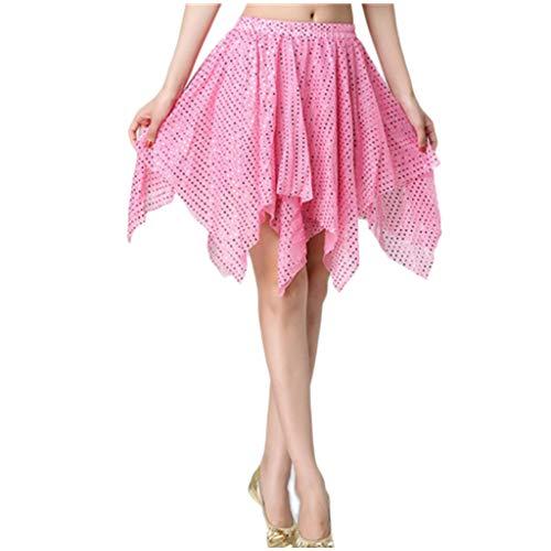 KIMODO Pailletten Dancewear Bauchtanz Tanzrock Damen Latein Rock mit Frauen Kostüm Kleidung Belly Latin irregul Tanzrock mit Shorts Innen (C, Einheitsgröße)