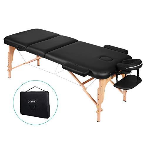 Naipo Lettino Massaggio Professionale Lettino per Massaggi Pieghevole 3 Zone Facile da Installare con Struttura in Legno Faggio Tedesco Custodia per Trasporto Poggiatesta e Bracciolo