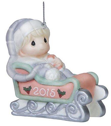 2015 Precious Moments Blue Baby Boys First Christmas Porcelain Ornament
