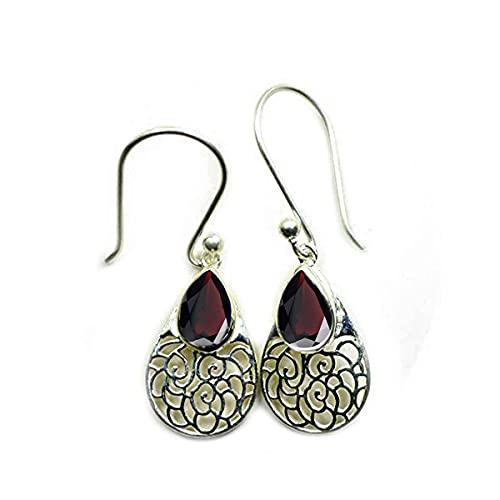 55Carat Elija su forma de pera piedra preciosa del color del gancho Drop & cuelgan plata de ley pendientes de la vendimia de pescado regalo para las mujeres