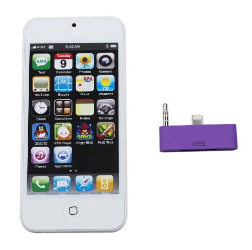 HBetterTech Premium Multi color USB Sync Data & Charging & Audio Adapter Dock Extender Converter 30 Pin to 8 Pin lightning for Apple iPhone 5 touch 5 - Play Music from your ihome dock,do not work with iPad4 iPad mini nano shuffle(Purple)