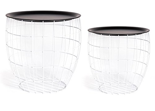 PEGANE Lot de 2 Tables Boules en métal Coloris Blanc - Dim : 45 x 47 cm