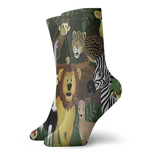 QUEMIN Calcetín, animales en la jungla Calcetines largos de 30 cm Medias deportivas de algodón para hombres, mujeres, niños, niñas