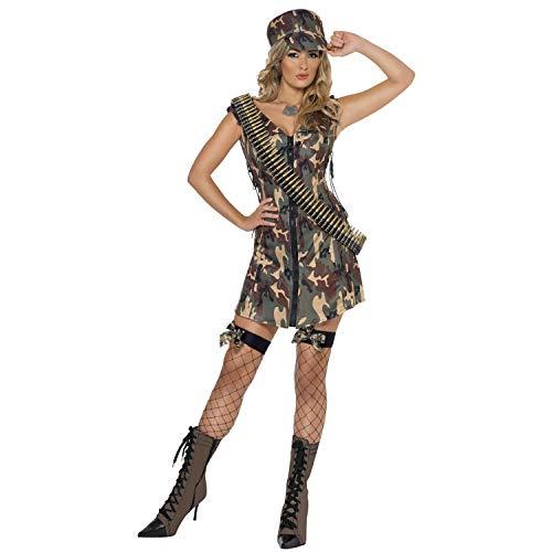 Amakando Extravagante Disfraz Chica Soldado - Verde S (ES 36/38) - Disfraz de Soldado Militar para Dama - El Centro de Las miradas para Festival y Carnaval