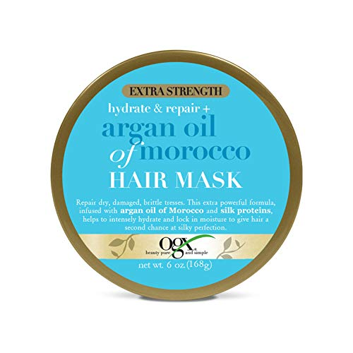 OGX Extra Strength Hydrate & Repair + Argan Oil of Morocco Hair Mask, Deep Moisturizing & Conditioning Treatment to fro Dry Damaged Hair, Paraben-Free, Sulfated-Surfactants Free, 6 oz