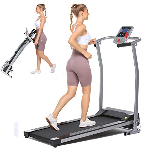 Folding Treadmill Electric Running Machine Auto Stop Safety Function Treadmill with LCD Monitor Running Walking Jogging Exercise Fitness Machine for Home Gym (Light Gray)