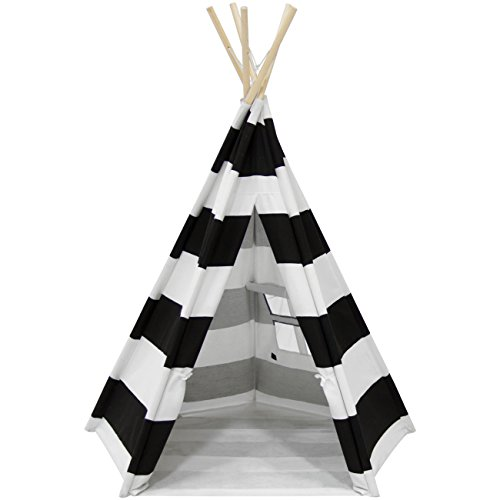 Best Choice Products 6ft Teepee Play Tent Kids Indian Canvas Playhouse Sleeping Dome w/ Carrying Bag - White/Black