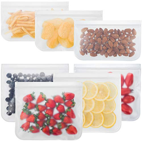 Bayco Reusable Storage Bags 7 Pack Lunch Sandwich Bags amp Small Kids Snack Bags For Food EXTRA THICK Reusable Food Storage Bags Reusable Freezer Bags Reusable Zipper Bags BPA FREE