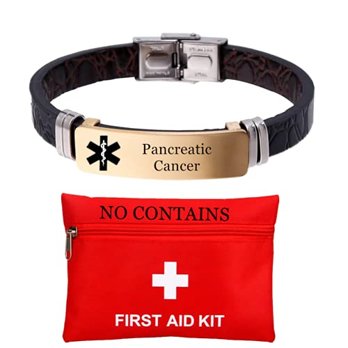 ForeverWill Personalized ID Pancreatic Cancer Bracelet for Women Men,Customized Leather 18K Gold Medical Alert Bracelets,Disease Awareness Identification Bangle Emergency ICE Alarm Jewelry Life Saver