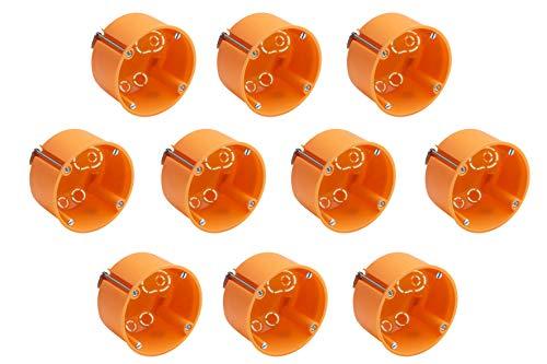 Meister Hohlwanddose Unterputz - 35 mm tief - orange - 10 Stück - Ø 68 mm Fräsloch - Zum Einbau von Schaltern & Steckdosen / Abzweigdose / Schalterdose / Hohlwand-Gerätedose / 7464020