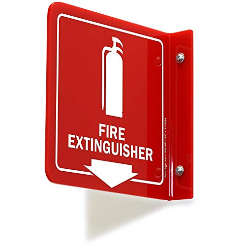 "SmartSign""Fire Extinguisher"" Projecting Sign, Fire Extinguisher with Down Arrow 